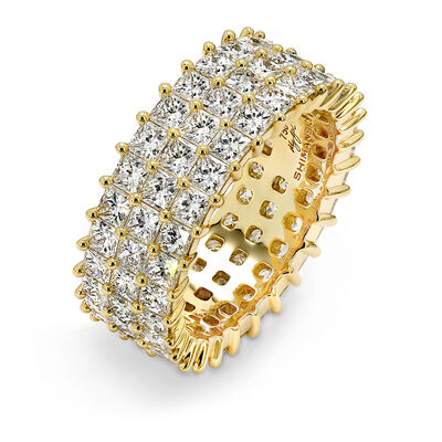 6.00 Carat My Girl Triple Row Diamond Eternity Ring in 18K Yellow Gold, , large image number null
