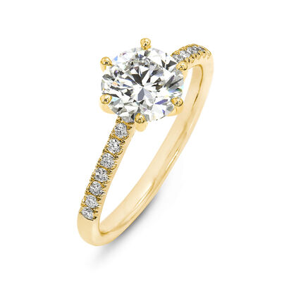 6 Prong Victoria Diamond Band Solitaire Diamond Engagement Ring in 18K Yellow Gold, , large image number null