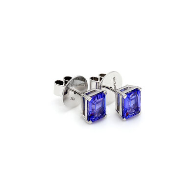 3.27 Carat 4 Prong Classic Tanzanite Stud Earrings in 18K White Gold, , large image number null