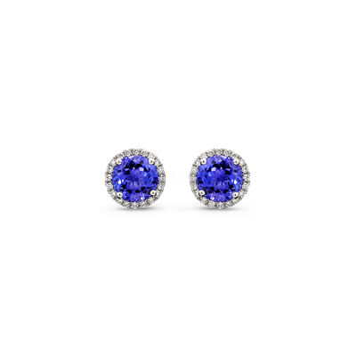 3.11 Carat Tanzanite and Diamond Halo Earrings in 18K White Gold, , large image number null