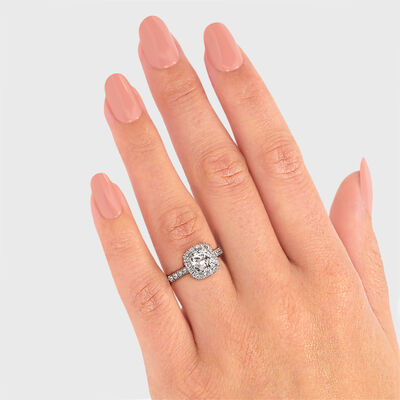 My Girl Cushion Cut Diamond Halo Engagement Ring in Platinum, , large image number null