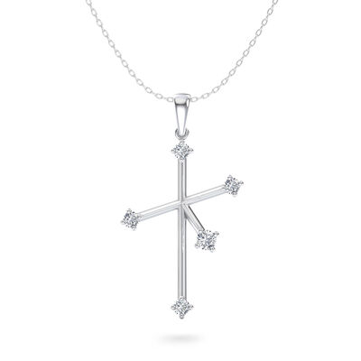 Southern Cross Large Diamond Pendant in 14K White Gold, , large image number null