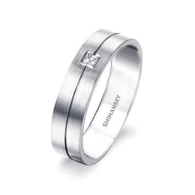 Max-Line Single Square Diamond Grooved Wedding Band in Brushed Palladium, , large image number null
