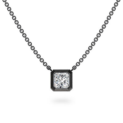 My Girl Bezel Set Diamond Solitaire Pendant In Brushed 18K White Gold With Black Rhodium, , large image number null