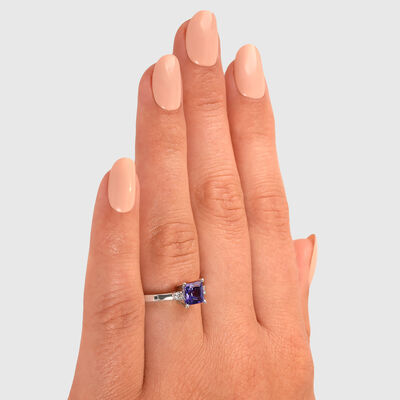 0.91 Carat Tanzanite 3 Stone Ring with Diamonds in 18K White Gold, , large image number null