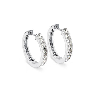 My Girl Medium Diamond Channel Set Hoops in Platinum, , large image number null
