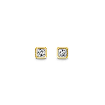 My Girl Bezel Set Diamond Stud Earrings In brushed 18K Yellow Gold, , large image number null
