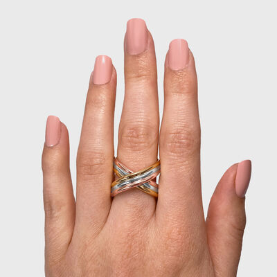 Infinity Flute Ring in 18K White, Yellow and Rose Gold, , large image number null