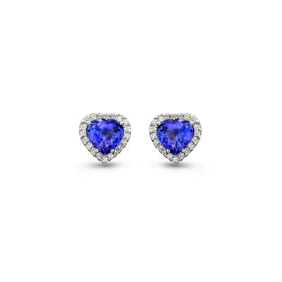 3.41 Carat Tanzanite and Diamond Halo Earrings in 18K White Gold, , large image number null