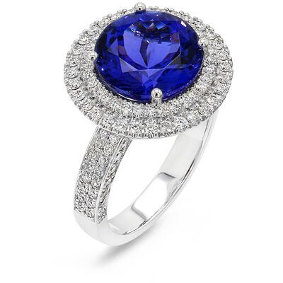 5.55 Carat Double Halo Design Tanzanite and Diamond Ring in 18K White Gold, , large image number null