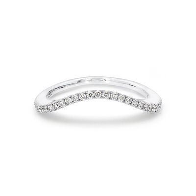 Silhouette Diamond Wedding Band in 18K White Gold, , large image number null