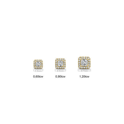 My Girl Diamond Halo Studs in 18K Yellow Gold, , large image number null