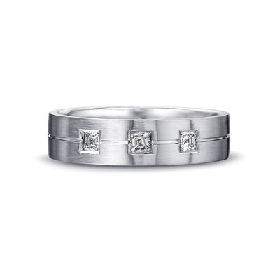 Max-Line Trio Square Diamond Grooved Wedding Band in Brushed Palladium, , large image number null