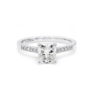 My Girl Cushion Cut Diamond Engagement Ring with Diamond Band in Platinum, , large image number null