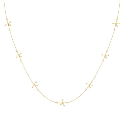 Southern Cross Diamond Station Necklace in 14K Yellow Gold, , large image number null
