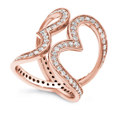 Two Hearts Diamond Statement Ring in 18K Rose Gold, , large image number null
