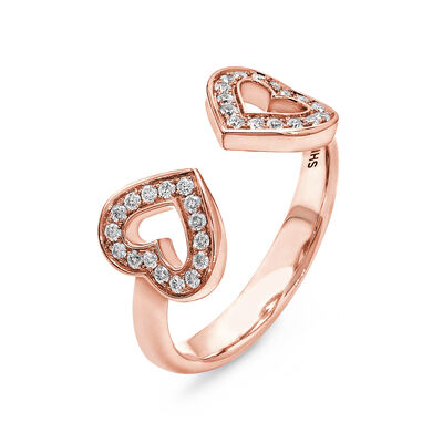 Two Hearts Diamond Ring in 18K Rose Gold, , large image number null