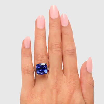 11.33 Carat Tanzanite Solitaire Ring in 18K White and Yellow Gold, , large image number null