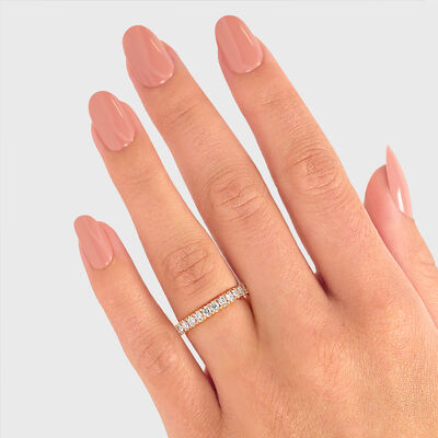 1.00 Carat Round Brilliant Cut Diamond Eternity Ring in 18K Rose Gold, , large image number null