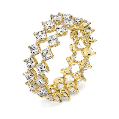 3.50 Carat Prong Set My Girl Diamond Double Diagonal Eternity Ring in 18K Yellow Gold, , large image number null