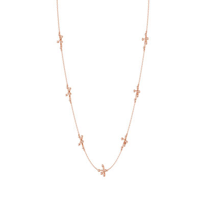 Southern Cross Diamond Station Necklace in 14K Rose Gold, , large image number null