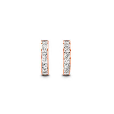 My Girl Diamond Channel Set Hoops in 18K Rose Gold, , large image number null