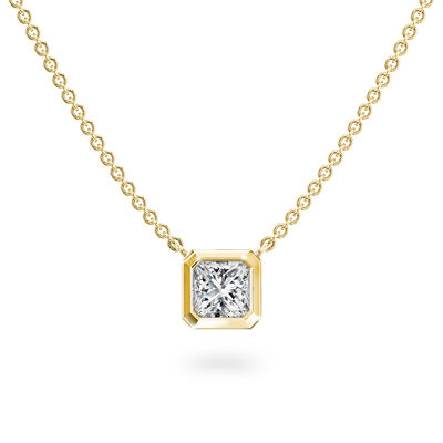My Girl Bezel Set Diamond Solitaire Pendant In 18K Yellow Gold, , large image number null