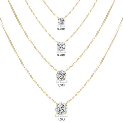 Classic 4 Prong Solitaire Diamond Necklace in 18K Yellow Gold, , large image number null