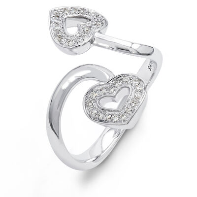 Two Hearts Diamond Twist Ring in 18K White Gold, , large image number null