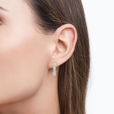 My Girl Small Diamond Hoops in Platinum, , large image number null