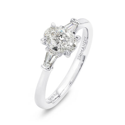 The Shimansky Dahlia Oval Shape Diamond Engagement Ring in Platinum, , large image number null