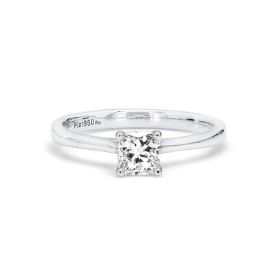My Girl Cushion Cut Solitaire Diamond Engagement Ring in Platinum, , large image number null