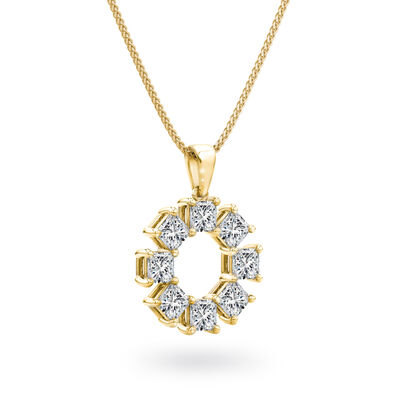 My Girl Lucky Eight Diamond Pendant in 18K Yellow Gold, , large image number null