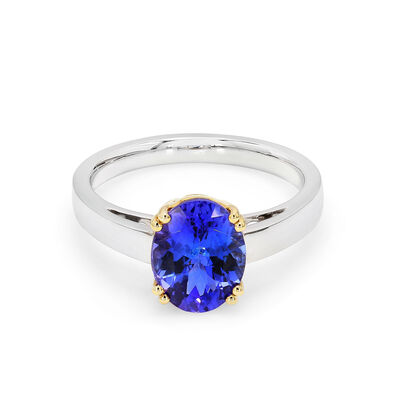 2.38 Carat Tanzanite Solitaire Ring in 18K White and Yellow Gold, , large image number null