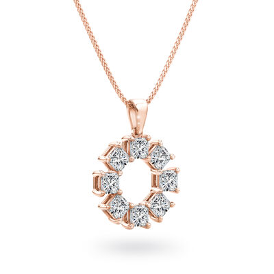 My Girl Lucky Eight Diamond Pendant in 18K Rose Gold, , large image number null