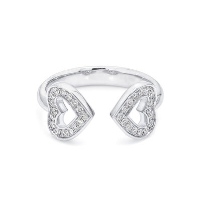 Two Hearts Diamond Ring in 18K White Gold, , large image number null