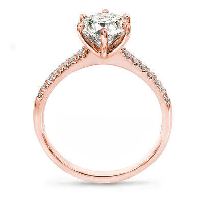 6 Prong Victoria Diamond Band Solitaire Diamond Engagement Ring in 18K Rose Gold, , large image number null