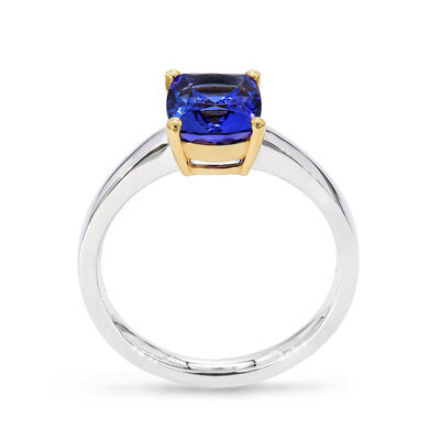 1.70 Carat Tanzanite Solitaire Ring in 18K White and Yellow Gold, , large image number null