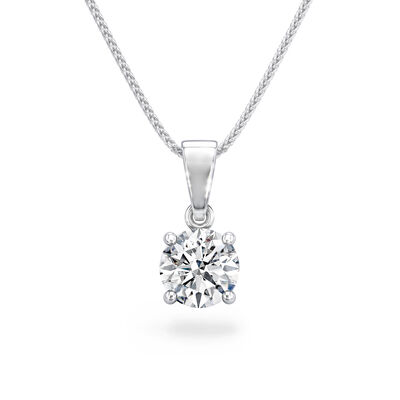 Classic 4 Prong Solitaire Diamond Pendant in Platinum, , large image number null