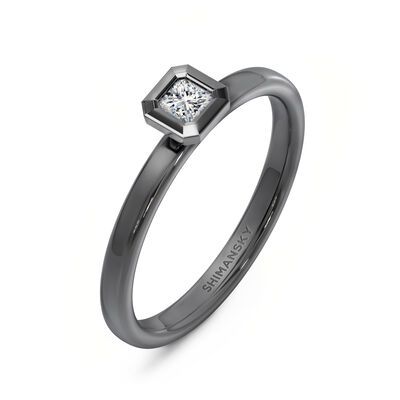 My Girl Bezel Set Diamond Ring in 18K White Gold With Black Rhodium, , large image number null