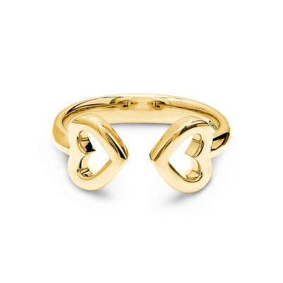Two Hearts Ring in 18K Yellow Gold, , large image number null