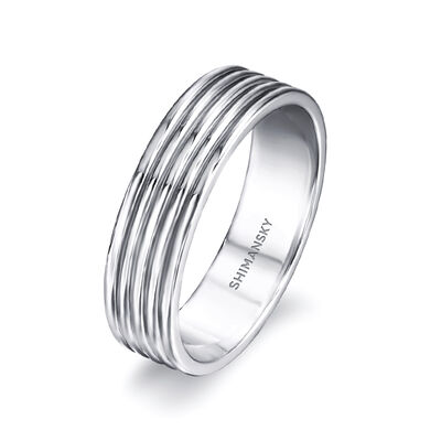 Max-Line Grooved Wedding Band in Palladium, , large image number null
