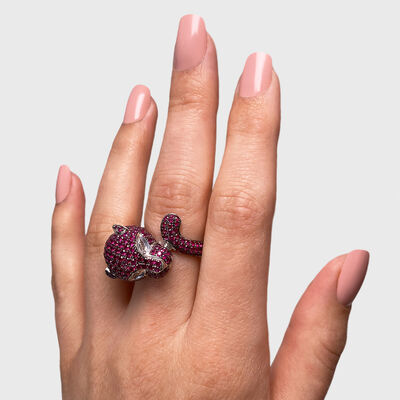 Pink Sapphire and Diamond Panther Ring in 18K White Gold, , large image number null