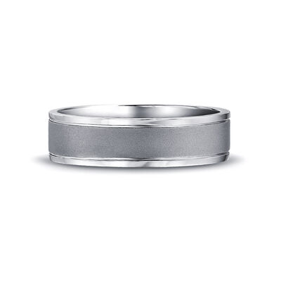 Max-Line Grooved Wedding Band in Satin Finished Palladium, , large image number null