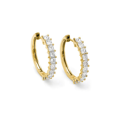 My Girl Medium Diamond Hoops in 18K Yellow Gold, , large image number null