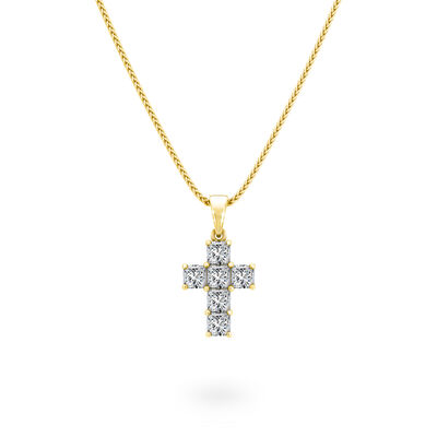 0.40 Carat My Girl Diamond Cross Pendant in 18K Yellow Gold, , large image number null