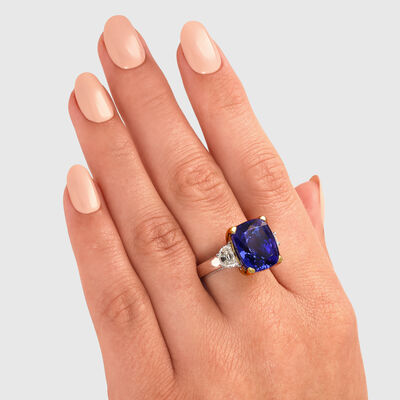 10.22 Carat Tanzanite Ring with Diamonds in 18K White and Yellow Gold, , large image number null