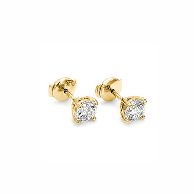 4 Prong Classic Diamond Stud Earrings in 18K Yellow Gold, , large image number null