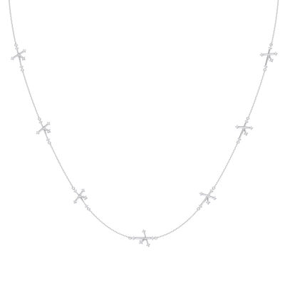 Southern Cross Diamond Station Necklace in 14K White Gold, , large image number null
