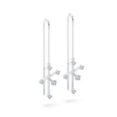 Southern Cross Diamond Drop Earrings in 14K White Gold, , large image number null